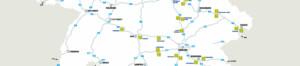 Ausschnitt aus der Tank&Rast Karte mit dem Ausbauplan für Schnellladesäulen (Quelle: Tank&Rast).