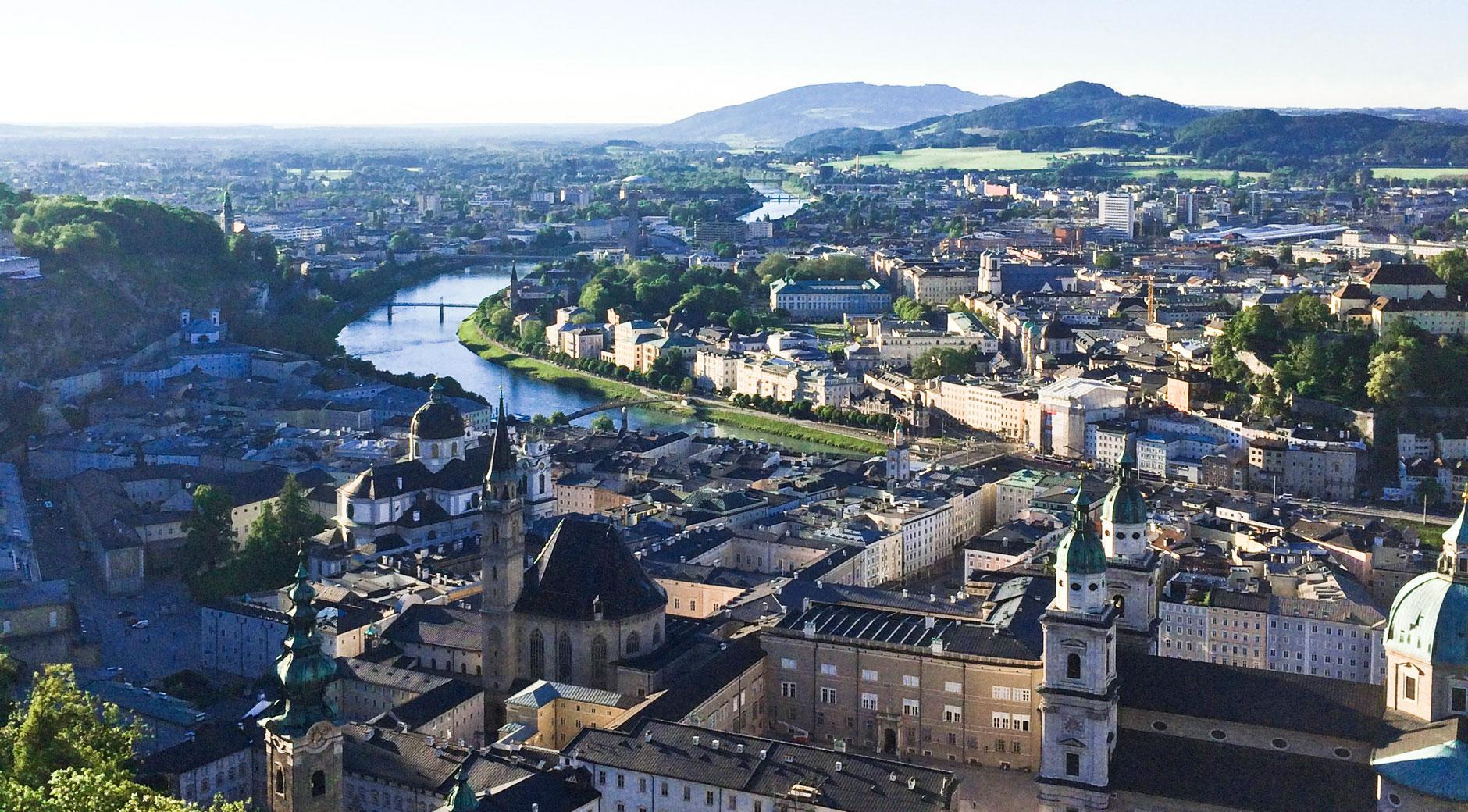 Blick auf Salzburg von der Festung Salzberg.