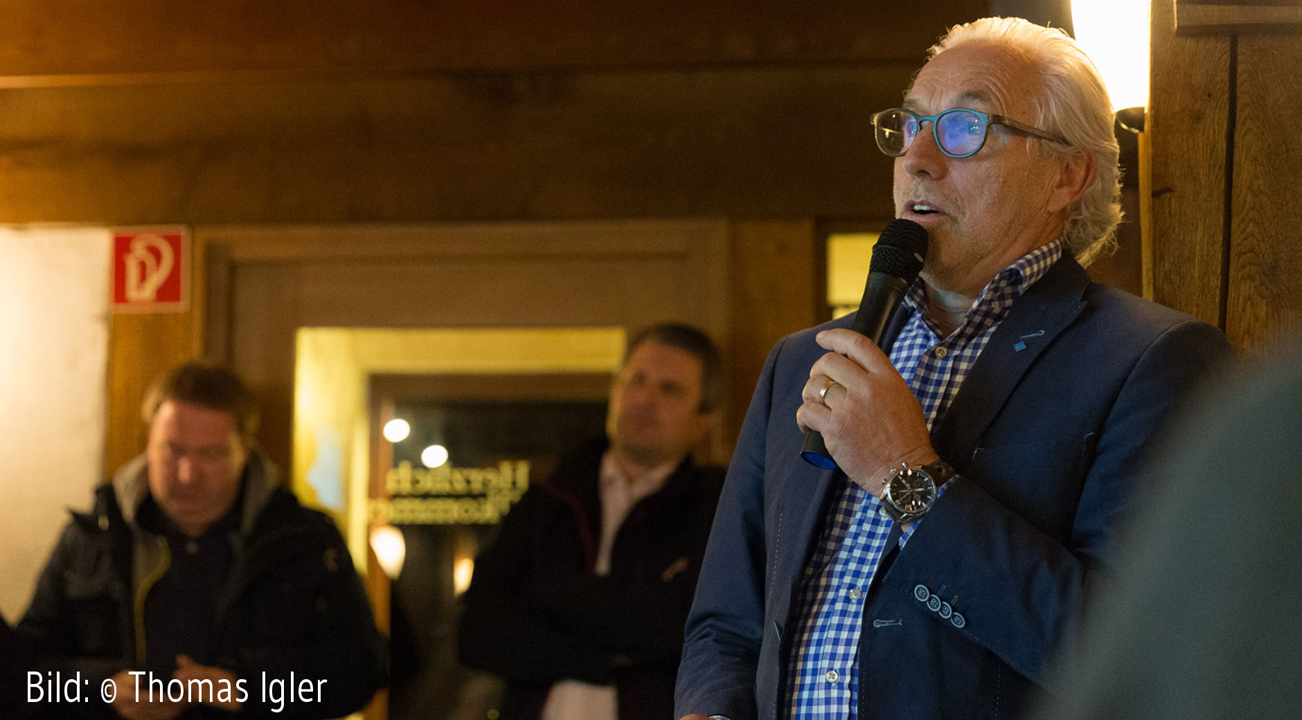 Professor Johan Tomforde beim Vortrag in der Mäulesmühle.