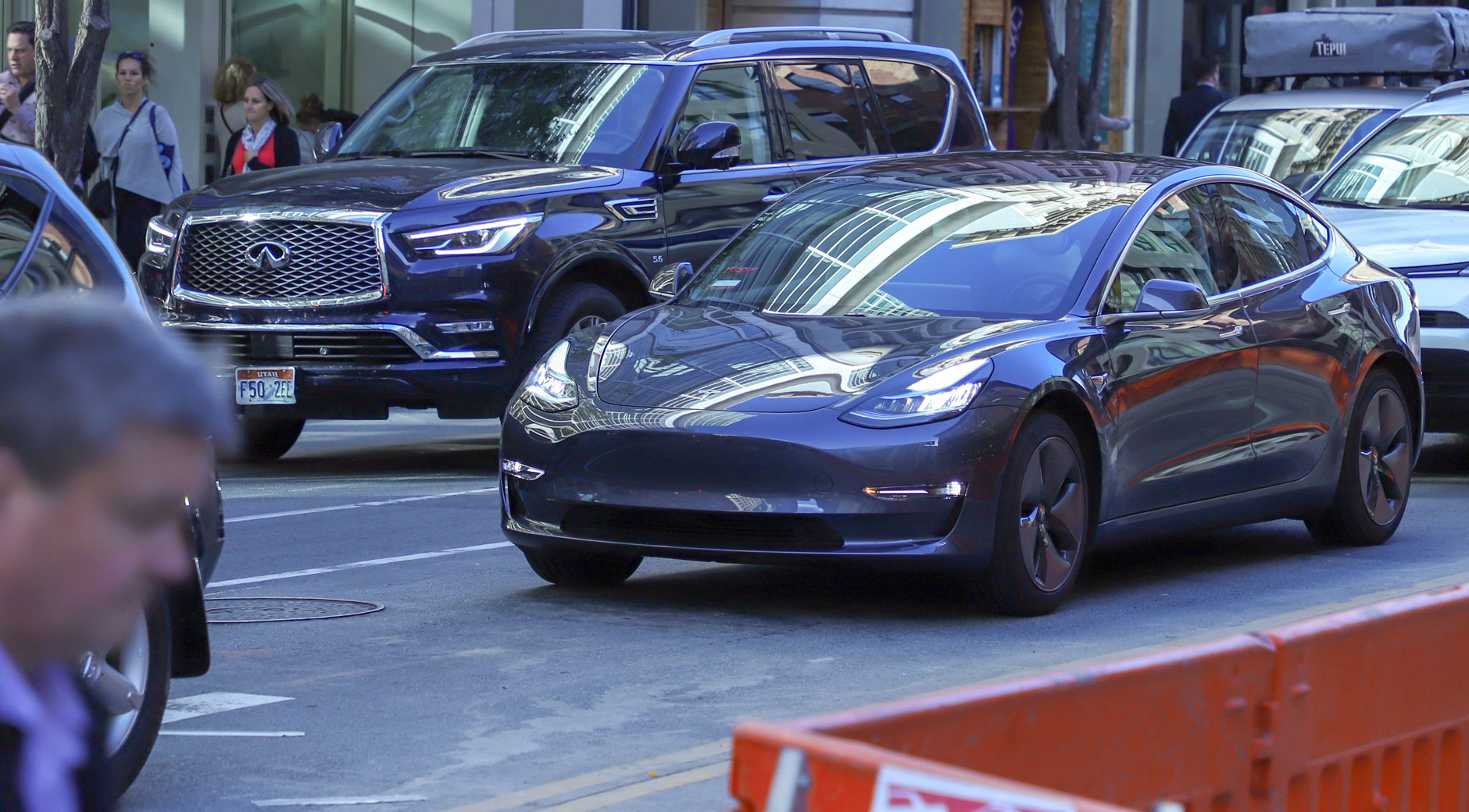 Das Tesla Model 3 in den Straßen von San Francisco (Bild: © Jana Höffner).